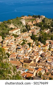 The town of Taormina, in sicily seen from the top; above the village you can see the greek amphitheater