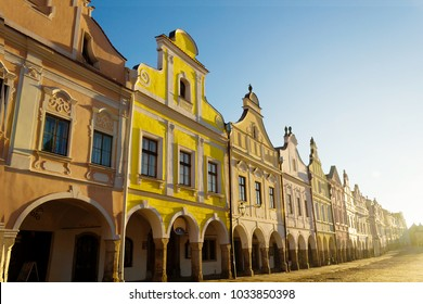 The town Telc, historical renaissance style houses with arcades and entire fronts with gables on the Zacharias from Hradec' s square from the15th century,World Heritage Site by UNESCO, Czech republic