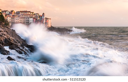 Town of Tellaro under sea storm