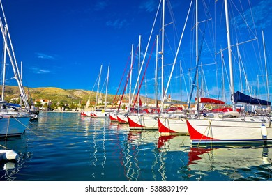 Town of Trogir sailboat harbor, tourist coast of Dalmatia, Croatia