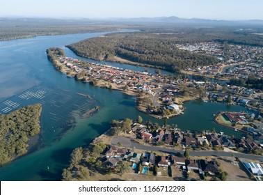 Town of Tuncurry on Wallis lakes, NSW, Australia.