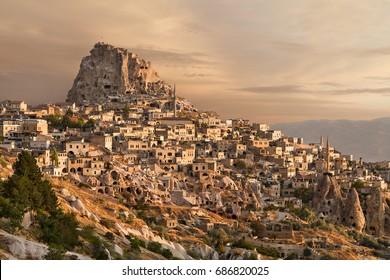 Town of Uchisar at the sunrise, Cappadocia.