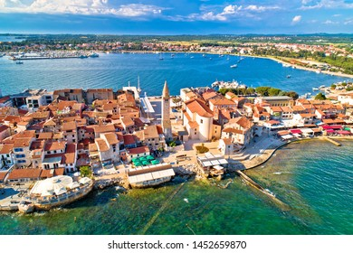 Town of Umag historic coastline architecture aerial view, archipelago of Istria region, Croatia