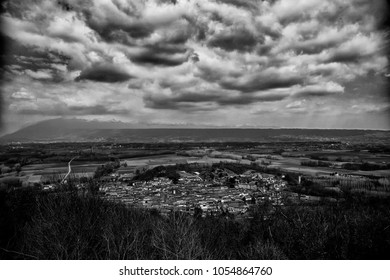 Town under the clouds, hdr black and white horizontal image