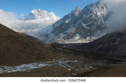 Town in the valley at the Manaslu mountain range