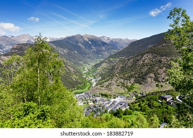 The town in a valley surrounded by stunning mountains at the Pyrenees in Andorra