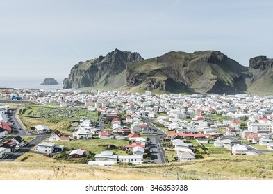 town of vestmannaeyjar on small island, Iceland