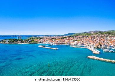 Town of Vodice and amazing turquoise coastline on Adriatic coast, aerial view, Croatia