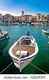 Town of Vodice tourist waterfront vertical view, Dalmatia, Croatia