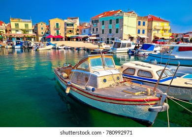 Town of Vodice tourist waterfront view, Dalmatia region of Croatia