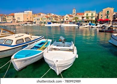 Town of Vodice tourist waterfront view, Dalmatia region of Croatia