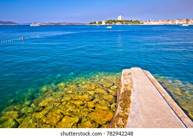 Town of Vodice view from beach, Dalmatia region of Croatia