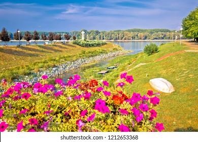 Town of Vukovar Vuka and Danube river mouth view, Slavonija region of Croatia