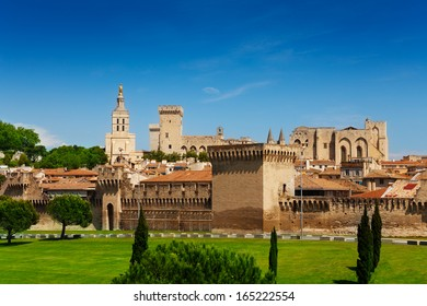 Town walls of Avignon and fortification of old city part, located in France province of Provence