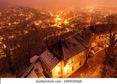 Town of Wernigerode is lit in the Evenings in the Winter