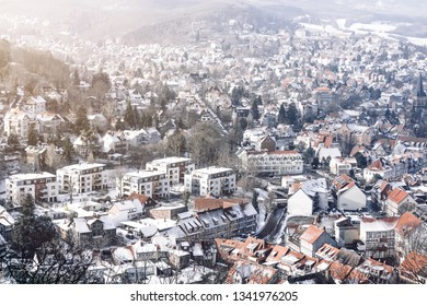 Town of Wernigerode from the top in the Winter