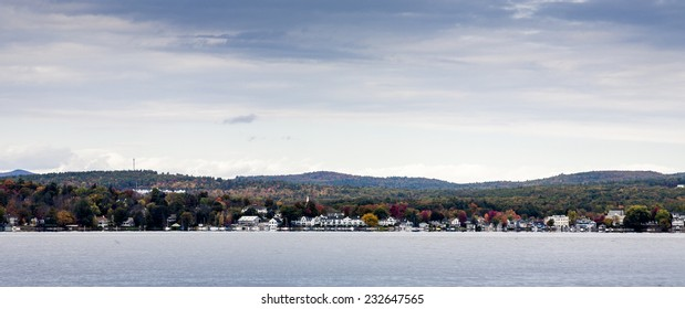 Town of Wolfeboro from water on fall day