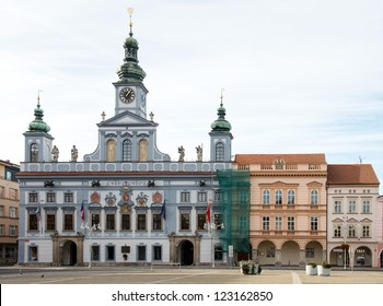 Townhall building in the center of Ceske Budejovice, Czech republic