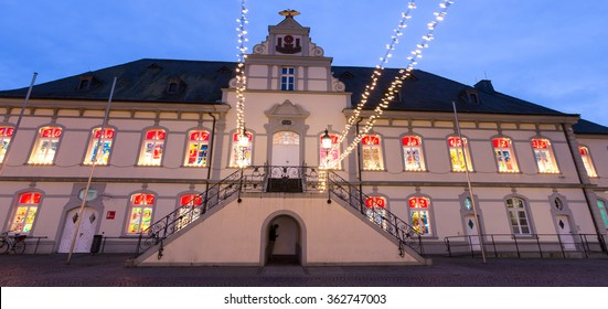 townhall lippstadt germany in the evening