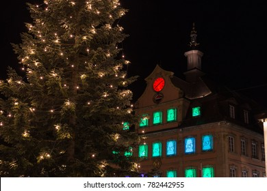 townhall near marketplace at advent christmas time evening in a historical city of south germany december near city of munich and stuttgart