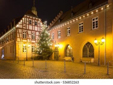 Townhall of Obernburg am Main in Germany at Christmas