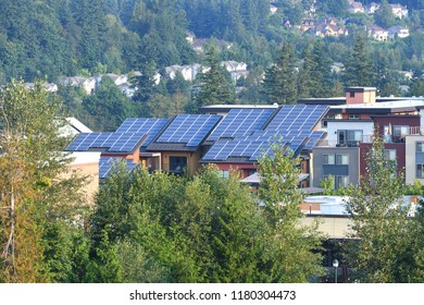 Townhomes with Modern Solar Panels on Roof, WA-USA