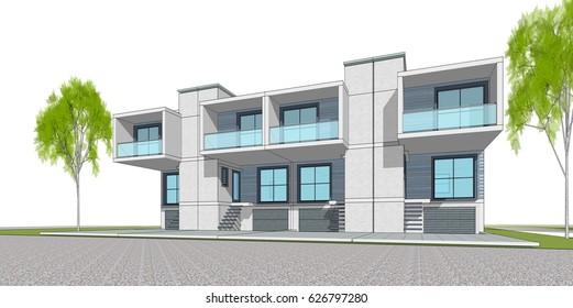 Townhouse, 3d illustration