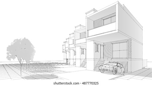 Townhouse, 3d illustration, sketch