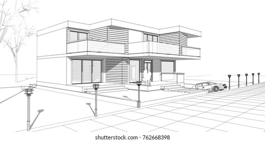 townhouse with bay windows, 3d illustration