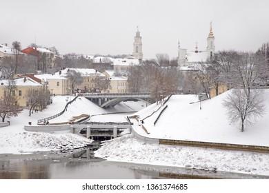 Townhouse, Pushkin bridge over Vitba river and Resurrection (Voskresenskaya) church in Vitebsk. Belarus