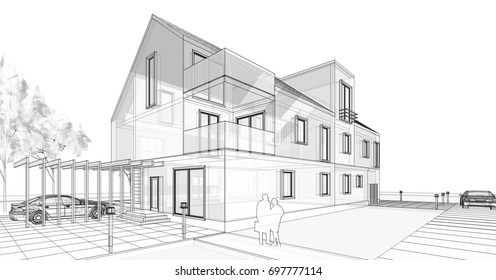 Townhouse, sketch. 3d illustration