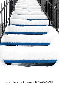 Townhouse staircase after snowstorm. Winter in Montreal, Quebec.