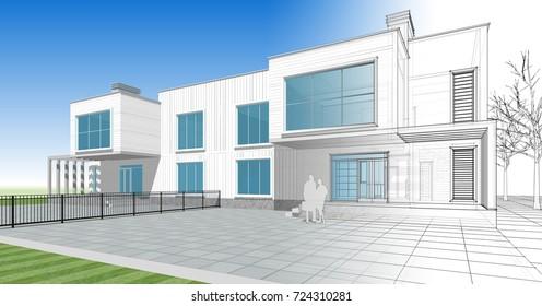 Townhouse, terrace, architectural sketch, 3d illustration