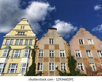 Townhouses on the market square in old part of Olsztyn, Masuria region of Poland