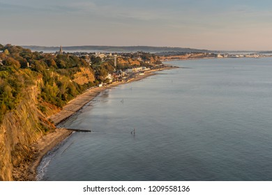 The towns of Shanklin and Sandown in Sandown Bay, as seen from Luccombe
