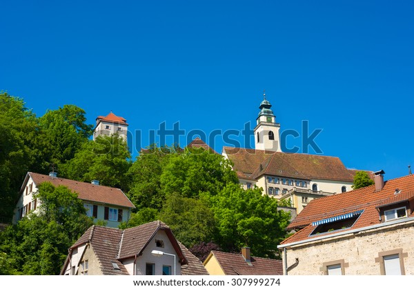 Townscape with the collegiate church of the Holy Cross and the villainous tower in Horb on the Neckar. Black Forest, Baden-Wurttemberg, Germany, Europe