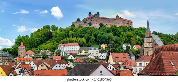 The townscape of Kulmbach with Plassenburg castle, Bavaria, Germany