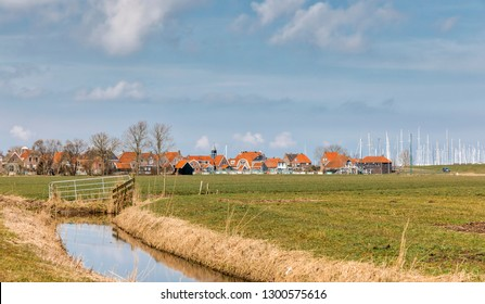 Townscape and marina of Hindeloopen, Friesland, Netherlands, Europe