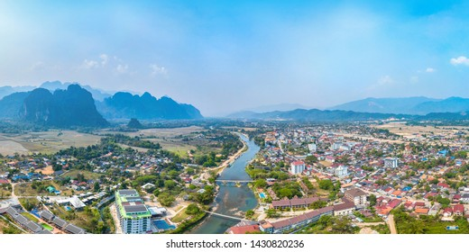 Townscape, Mountain View and River Scenery in Vang Vieng, Laos, Southeast Asia