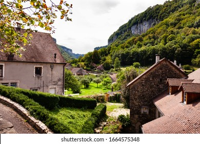 Townscape in mountains area. Old houses in Baume les Messieurs village. Jura, France, Europe. - Shutterstock ID 1664575348