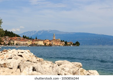 Townscape of Salo with mountain panorama at Lake Garda, Italy