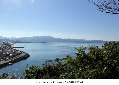 Townscape of Senzaki town from Ouji Park, Nagato City, Yamaguchi Prefecture, Japan.