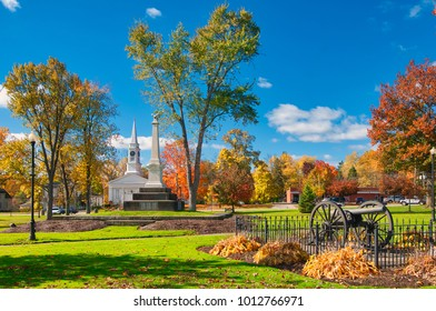 The township owned square in Twinsburg, Ohio, with landmarks and autumn colors