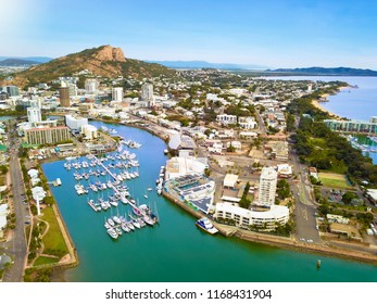 Townsville harbor view on the Yacht Club Marina, The Strand and Castle Hill