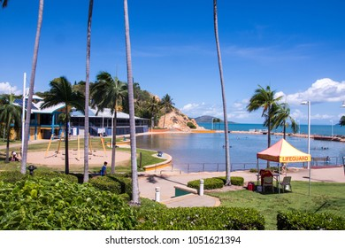Townsville, Qld, Australia- December 23,2017: Townsville Rock Pool on a beautiful summer day,