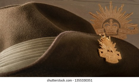 Townsville, Queensland, Australia - 18 April 2018:  The slouch hat is a symbol of Australian Defence Forces that saw active duty since World War 1.