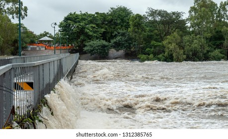 Townsville, Queensland, Australia - February 01 2019:  Rising flood waters threaten imminent inundation of homes in the suburb of Annandale during the 2019 monsoon trough that menaced Townsville.