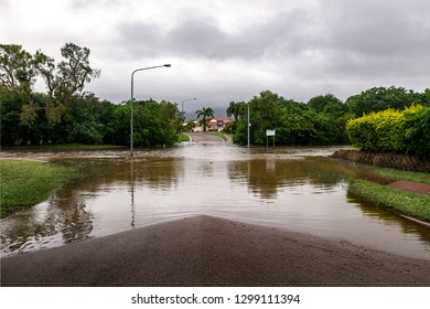Townsville, Queensland, Australia - January 30 2019: Localised flooding in Townsville caused by monsoon trough.  This scene is Glendale Drive, Annandale