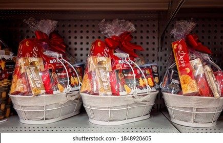 Townsville, Queensland, Australia - October 2020: Food hampers bundled up ready for sale in a store in the lead up to Christmas
