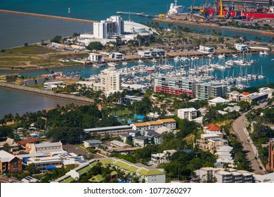 Townsville, Queensland/Australia - 13 April 2018: Views of Townsville from the top of Castle Hill on a sunny day.